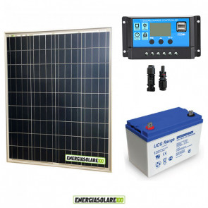 Kit Starter Plus Pannello Solare 150W 12V Batteria Gel 100Ah Regolatore PWM 10A NV10