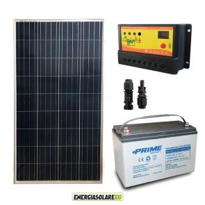 Kit Starter Plus Pannello Solare 150W 12V Batteria AGM 100Ah Regolatore PWM 10A NV10