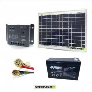 Kit Starter Pro 10W 12V con batteria 7Ah e cavi 2.5mmq PVC