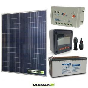 Kit Starter Plus Pannello Solare 200W 12V Batteria Agm 200Ah  Regolatore PWM 20A LS2024B e Display MT-50