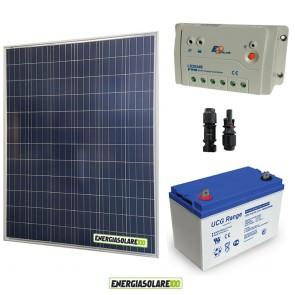 Kit Starter Plus Pannello Solare 200W 12V Batteria Gel 100Ah  Regolatore PWM 20A LS2024B