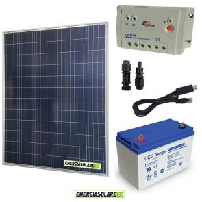 Kit Starter Plus Pannello Solare 200W 12V Batteria Gel 100Ah  Regolatore PWM 20A LS2024B e Cavo USB RS485