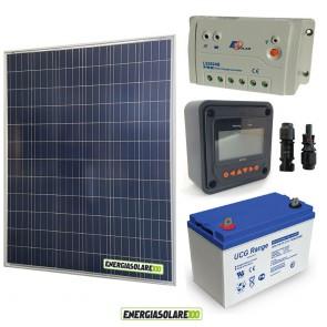 Kit Starter Plus Pannello Solare 200W 12V Batteria Gel 100Ah  Regolatore PWM 20A LS2024B e Display MT-50