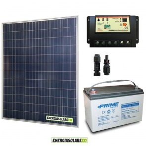 Kit Starter Plus Pannello Solare 200W 12V Batteria AGM 100Ah Regolatore PWM 20A EP20