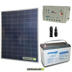 Kit Starter Plus Pannello Solare 200W 12V Batteria AGM 100Ah  Regolatore PWM 20A LS2024B
