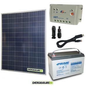 Kit Starter Plus Pannello Solare 200W 12V Batteria AGM 100Ah  Regolatore PWM 20A LS2024B e Cavo USB RS485
