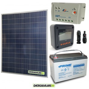 Kit Starter Plus Pannello Solare 200W 12V Batteria AGM 100Ah  Regolatore PWM 20A LS2024B e Display MT-50