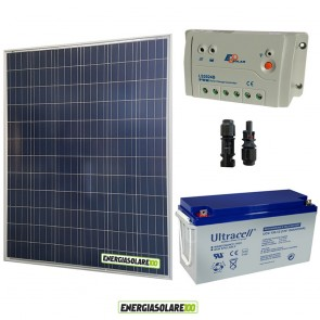 Kit Starter Plus Pannello Solare 200W 12V Batteria Gel 150Ah  Regolatore PWM 20A LS2024B