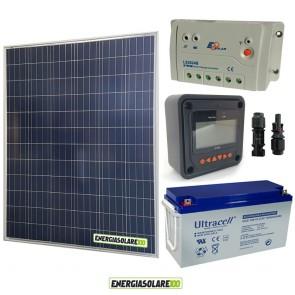 Kit Starter Plus Pannello Solare 200W 12V Batteria Gel 150Ah  Regolatore PWM 20A LS2024B e Display MT-50