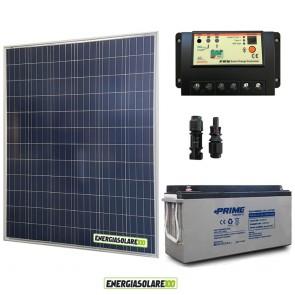 Kit Starter Plus Pannello Solare 200W 12V Batteria AGM 150Ah  Regolatore PWM 20A EP20