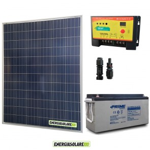 Kit Starter Plus Pannello Solare 200W 12V Batteria AGM 150Ah  Regolatore PWM 20A NV20