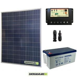 Kit Starter Plus Pannello Solare 200W 12V Batteria Gel 200Ah  Regolatore PWM 20A EP20