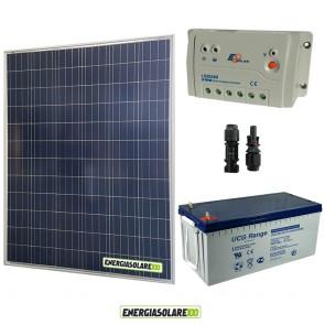 Kit Starter Plus Pannello Solare 200W 12V Batteria Gel 200Ah  Regolatore PWM 20A LS2024B