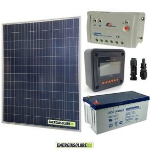 Kit Starter Plus Pannello Solare 200W 12V Batteria Gel 200Ah  Regolatore PWM 20A LS2024B e Display MT-50