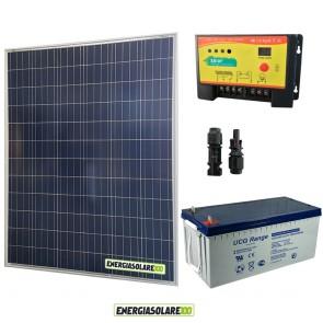 Kit Starter Plus Pannello Solare 200W 12V Batteria Gel 200Ah Regolatore PWM 20A NV20