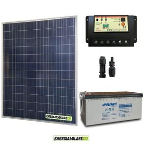 Kit Starter Plus Pannello Solare 200W 12V Batteria AGM 200Ah  Regolatore PWM 20A EP20