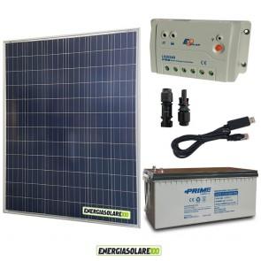 Kit Starter Plus Pannello Solare 200W 12V Batteria agm 200Ah  Regolatore PWM 20A LS2024B e Cavo USB RS485