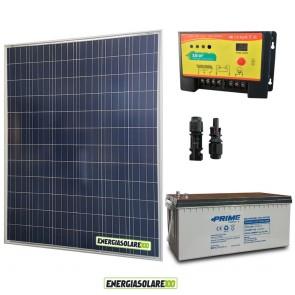Kit Starter Plus Pannello Solare 200W 12V Batteria AGM 200Ah Regolatore PWM 20A NV20