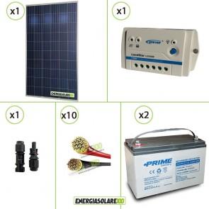 Kit PRO pannello solare 250W 24V policristallino regolatore di carica 10A LS 2 batterie 100Ah AGM cavi