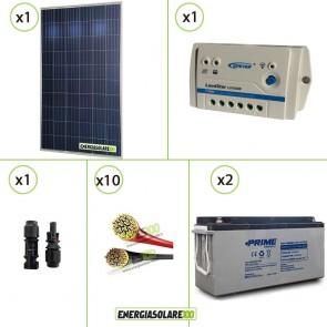 Kit PRO pannello solare 250W 24V policristallino regolatore di carica 10A LS 2 batterie 150Ah AGM cavi