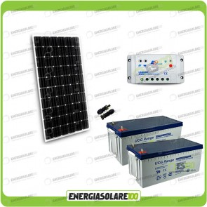 Kit Starter Plus Pannello Solare 300W 24V Batteria Gel 200Ah  Regolatore PWM 20A LS2024B