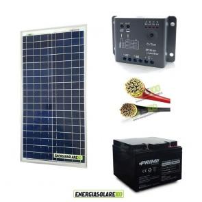 Kit Starter Pro 30W 12V con batteria 24Ah e cavi 2.5mmq PVC