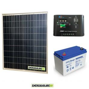 Kit Starter Plus Pannello Solare 80W 12V Batteria GEL 100Ah Regolatore di Carica 10A Epsolar