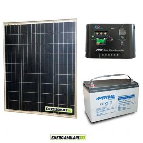 Kit Starter Plus Pannello Solare 80W 12V Batteria AGM 100Ah Regolatore di Carica 10A Epsolar