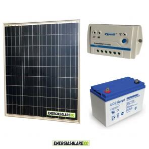 Kit Starter Plus Pannello Solare 80W 12V Batteria Gel 100Ah Regolatore PWM 10A LS1024B