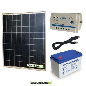 Kit Starter Plus Pannello Solare 80W 12V Batteria Gel 100Ah Regolatore PWM 10A LS1024B e Cavo USB RS485