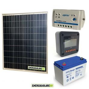 Kit Starter Plus Pannello Solare 80W 12V Batteria Gel 100Ah Regolatore PWM 10A LS1024B e Display MT-50