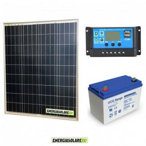 Kit Starter Plus Pannello Solare 80W 12V Batteria Gel 100Ah Regolatore PWM 10A NV10