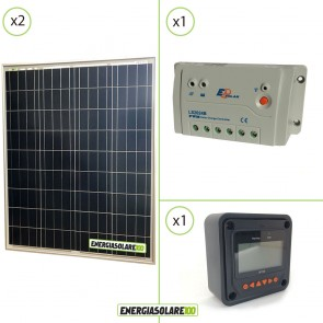 Kit Starter Solare Fotovoltaico 160W 12V  Regolatore PWM 20A 12V Epsolar LS2024B con Display MT-50