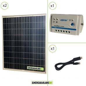 Kit Starter Solare Fotovoltaico 160W 24V  Regolatore PWM 10A 24V Epsolar LS1024B con Cavo RS485-USB