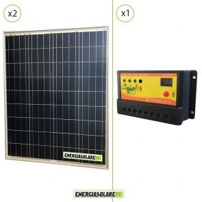 Kit Solare Fotovoltaico 160W 24V Regolatore PWM 10A Chalet  Baita Casa Illuminazione