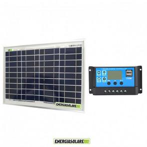 Kit Solare Fotovoltaico 10W 12V Regolatore PWM 10A Nvsolar Camper Casa Nautica Illuminazione