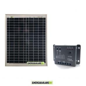 Kit Solare Fotovoltaico 20W 12V Regolatore PWM 5A Epsolar Camper Casa Nautica Illuminazione
