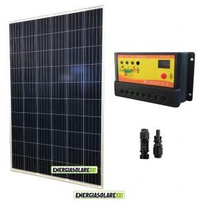 Kit Pannello Solare Fotovoltaico 270W 24V + Regolatore di Carica 10A crepuscolare