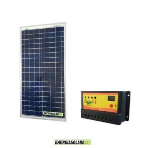 Kit Solare Fotovoltaico 30W 12V Regolatore PWM 10A Nvsolar Camper Casa Nautica Illuminazione