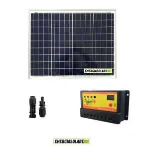 Kit Solare Fotovoltaico 50W 12V Regolatore PWM 10A Nvsolar Camper Casa Nautica Illuminazione