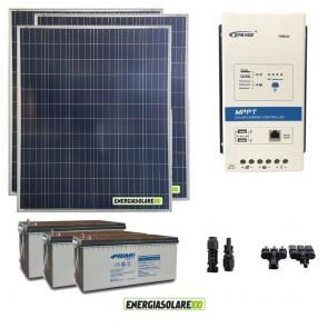 Kit starter plus 200W 12V policristallino Batteria GEL 100Ah Regolatore MPPT 20A DISPLAY DB1+ interfaccia UCS