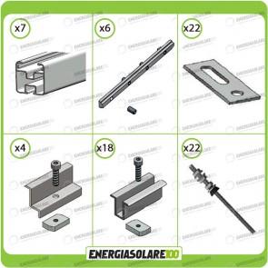 Kit Struttura 10 Pannelli Solari 40mm Tetto a Falda Tetto Metallo
