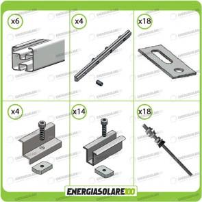 Kit Struttura 8 Pannelli Solari 40mm Tetto a Falda Tetto Metallo