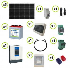 Kit fotovoltaico Solare 0.9KW pannelli solari Serie HF Inverter EPEver 3000W 24V sinusoidale pura con regolatore di carica MPPT 60A Batteria Acido Libero Piastra Tubolare 240Ah 6V