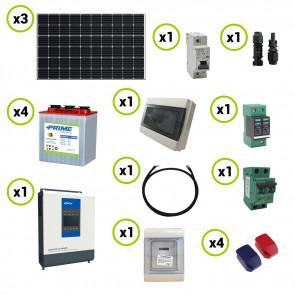 Kit fotovoltaico Solare 0.99KW pannelli solari Serie HF Inverter EPEver 3000W 24V sinusoidale pura con regolatore di carica MPPT 60A Batteria Acido Libero Piastra Tubolare 240Ah 6V
