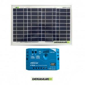 Kit pannello Fotovoltaico 10W 12V Regolatore di carica PWM 5A EPsolar impianti per Camper Casa Nautica Illuminazione