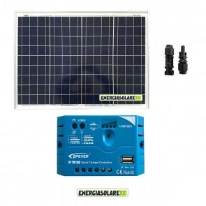 Kit pannello Fotovoltaico 50W 12V Regolatore di carica PWM 5A EPsolar impianti per Camper Casa Nautica Illuminazione
