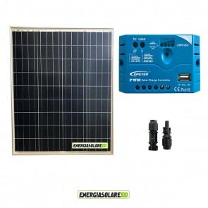 Kit pannello Fotovoltaico 80W 12V Regolatore di carica PWM 5A EPsolar impianti per Camper Casa Nautica Illuminazione