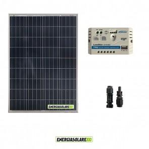 Kit pannello Fotovoltaico 100W 12V Regolatore di carica PWM 10A EPsolar impianti per Camper Casa Nautica Illuminazione