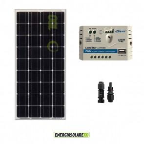 Kit pannello Fotovoltaico 100W 12V Monocristallino Regolatore di carica PWM 10A EPsolar impianti per Camper Casa Nautica Illuminazione
